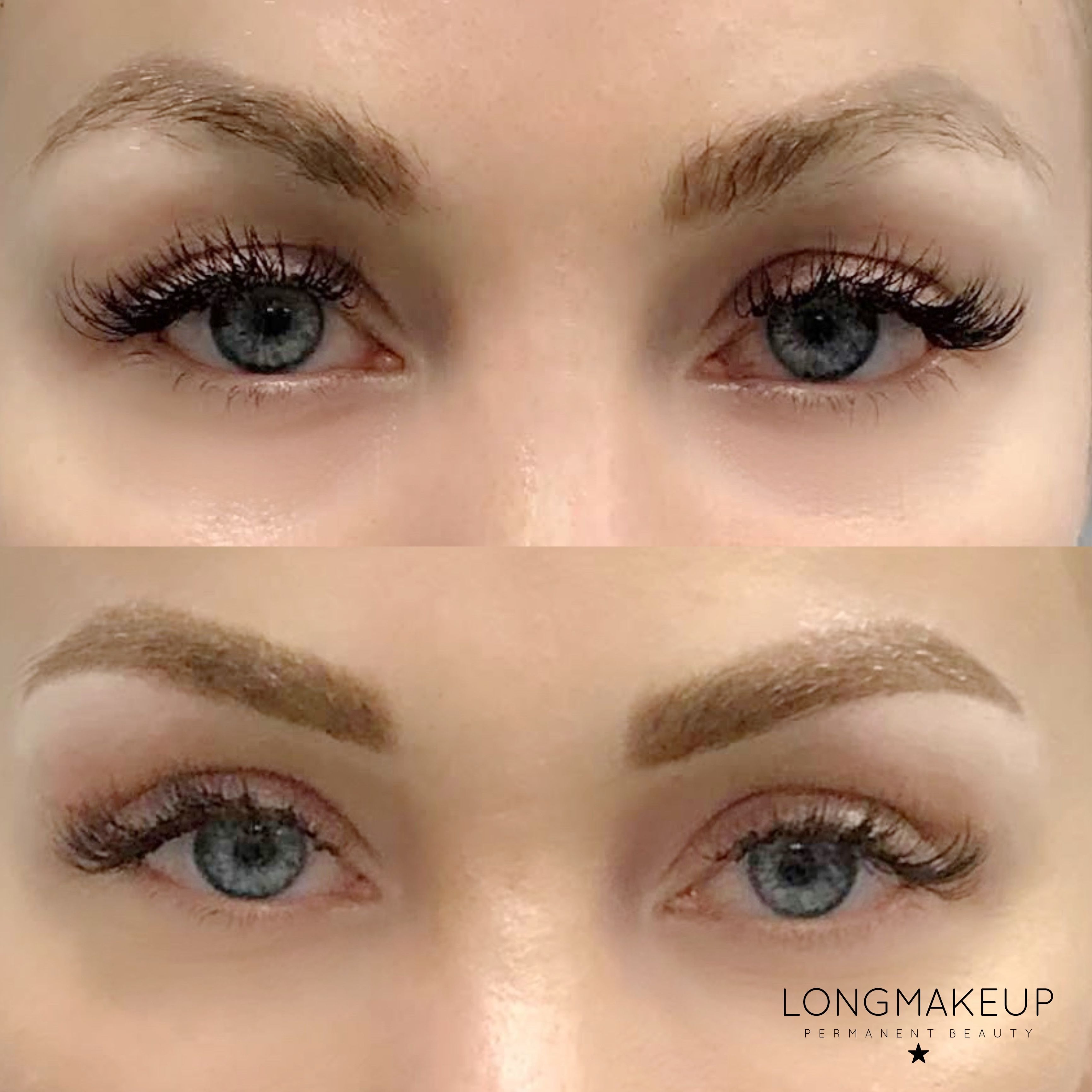Before and after eyebrows tattoo color correction
