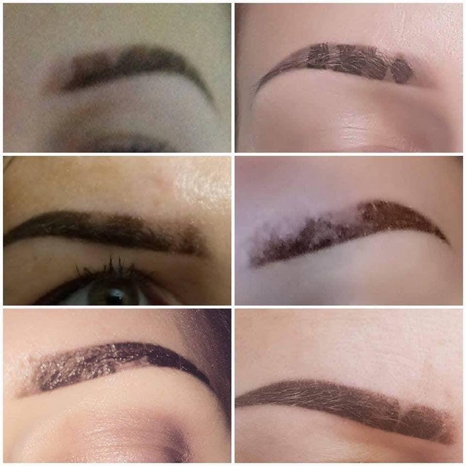 Powder eyebrows scabbing while healing
