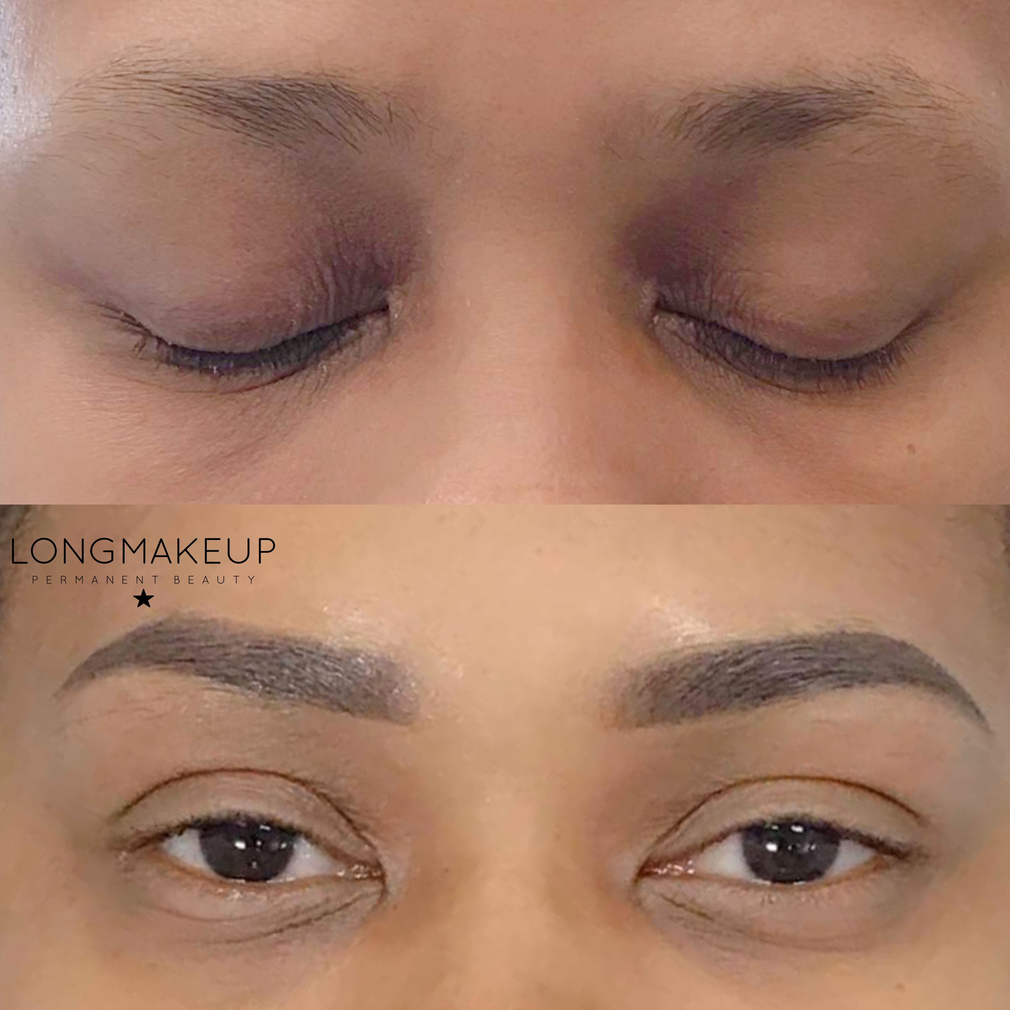 Before and after ombre brows