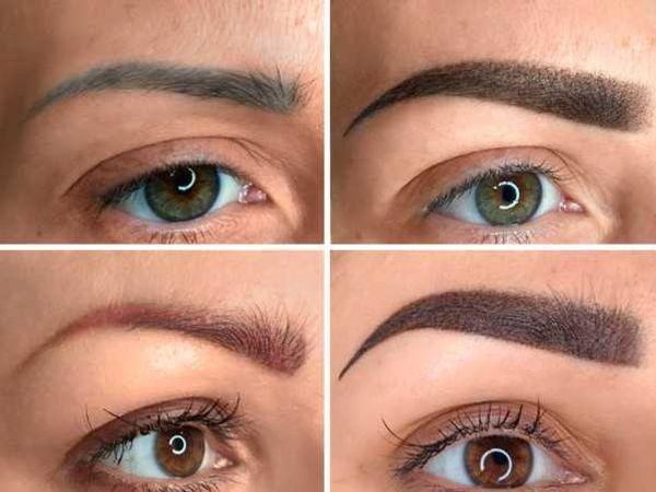 Eyebrows tattoo color correction