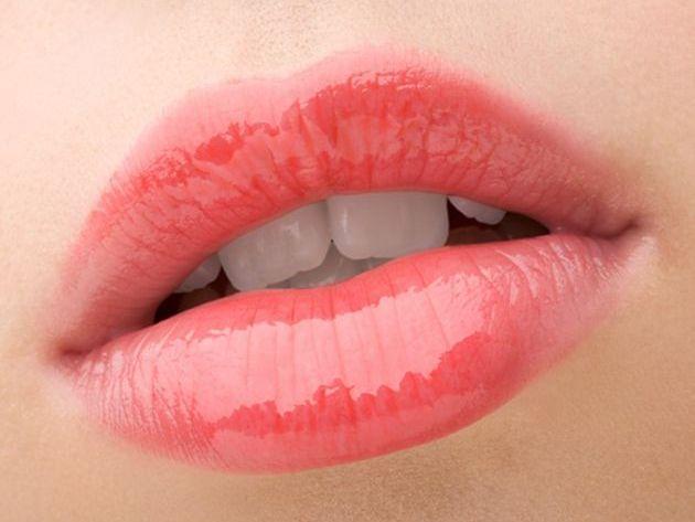 Lip blushing tattoo on lips
