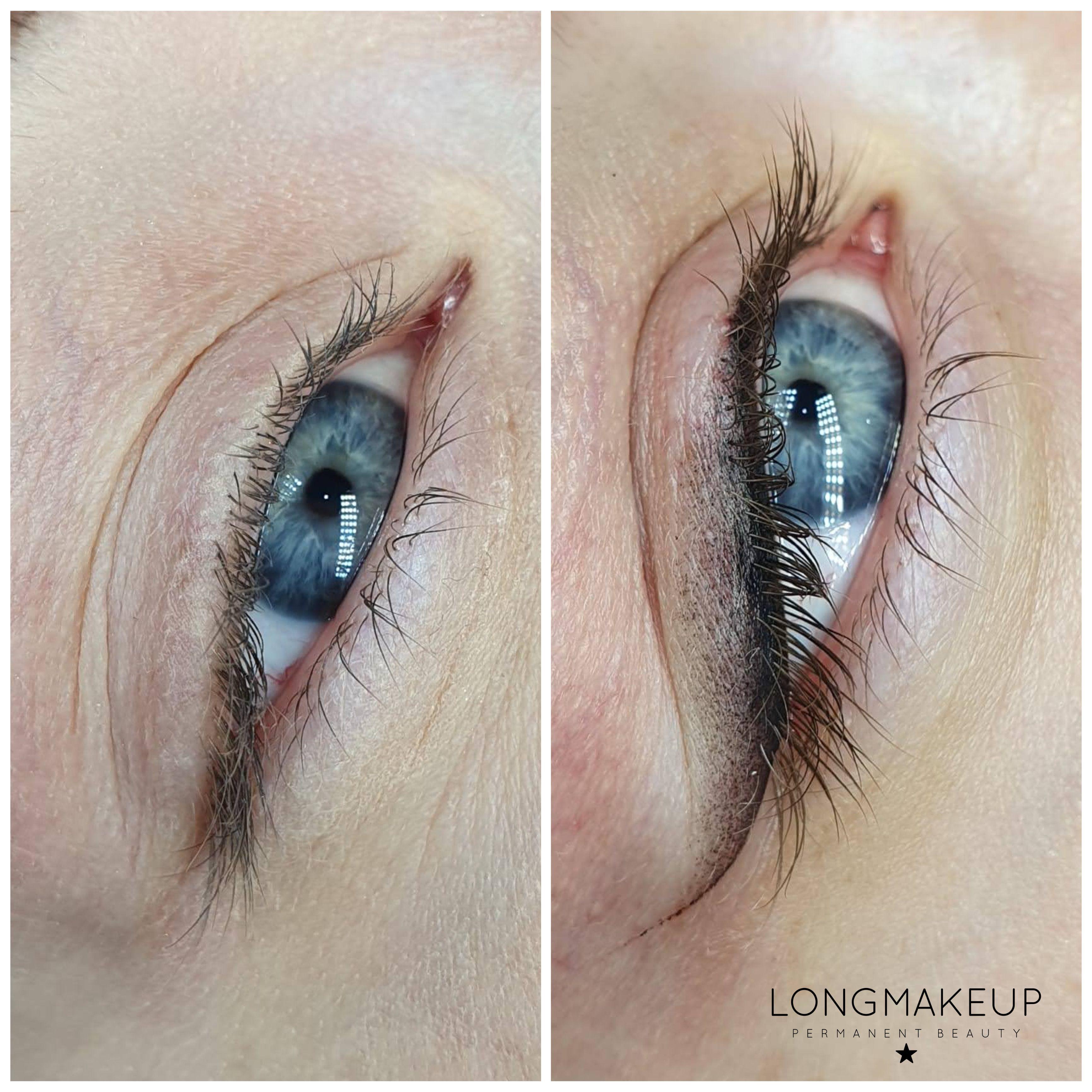 Classic eyeliner tattoo with eyelid shading