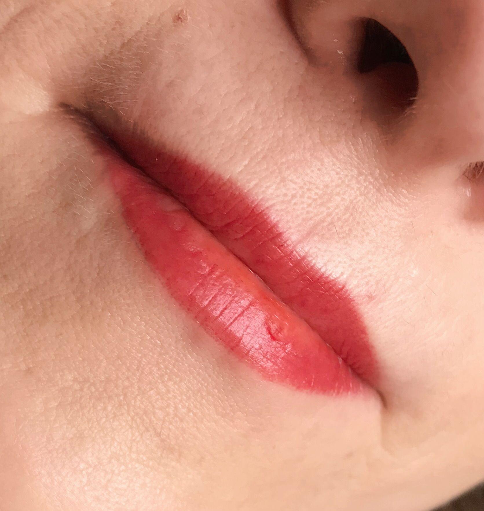 Red lip blush tattoo