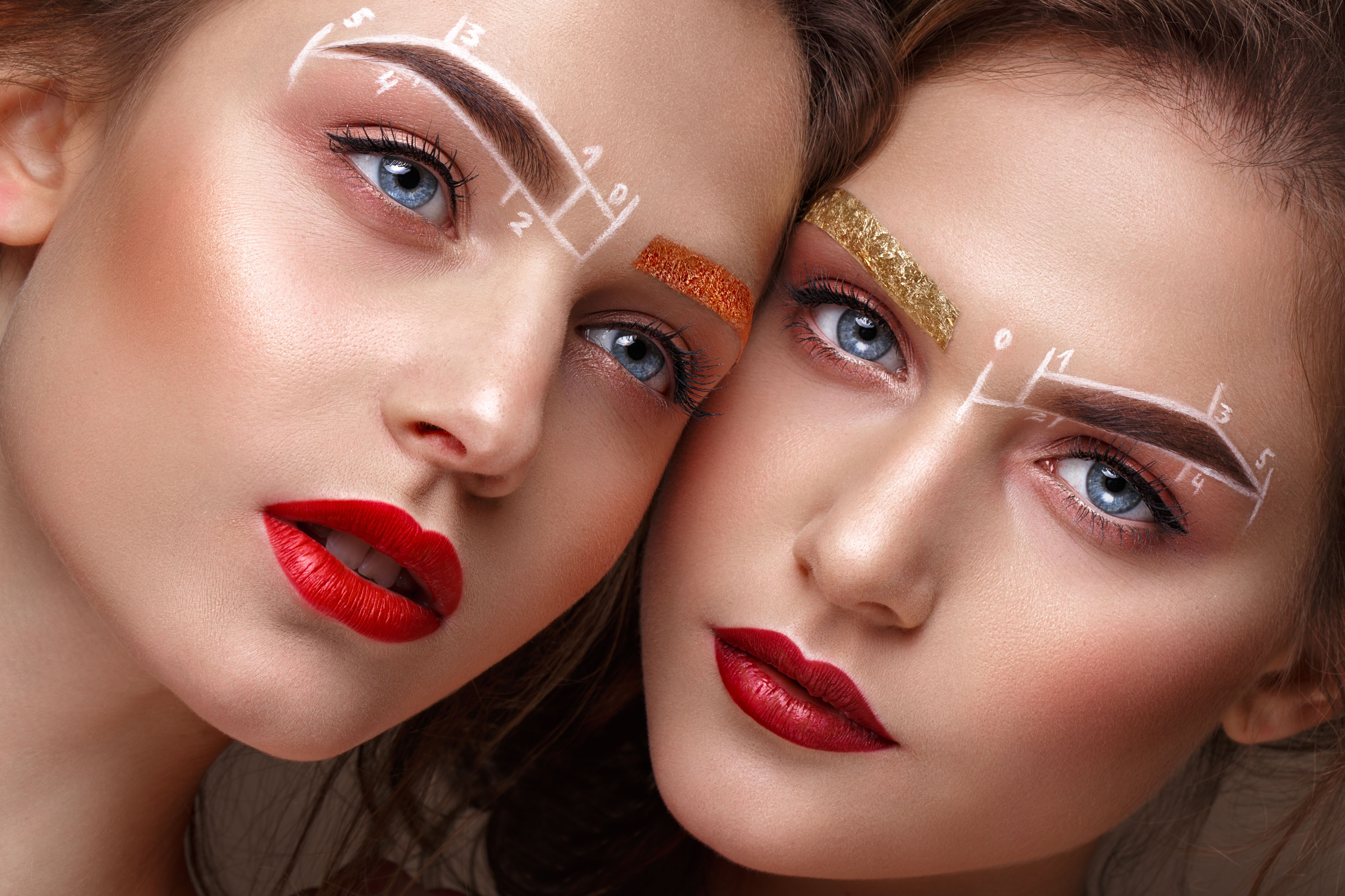 Women with eyebrows microblading