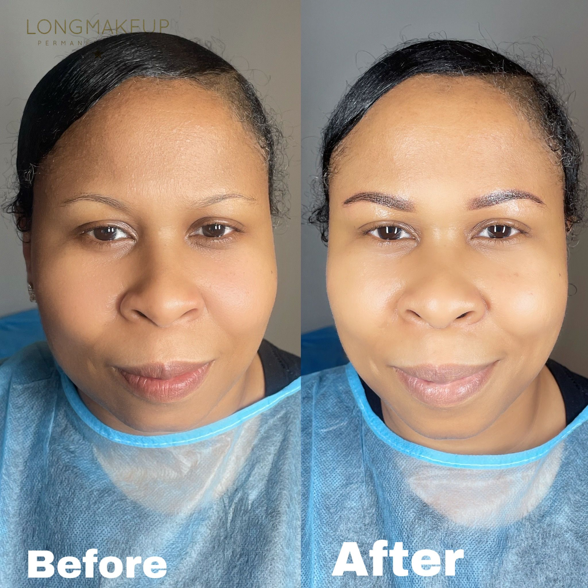 Before and after ombre powder brows