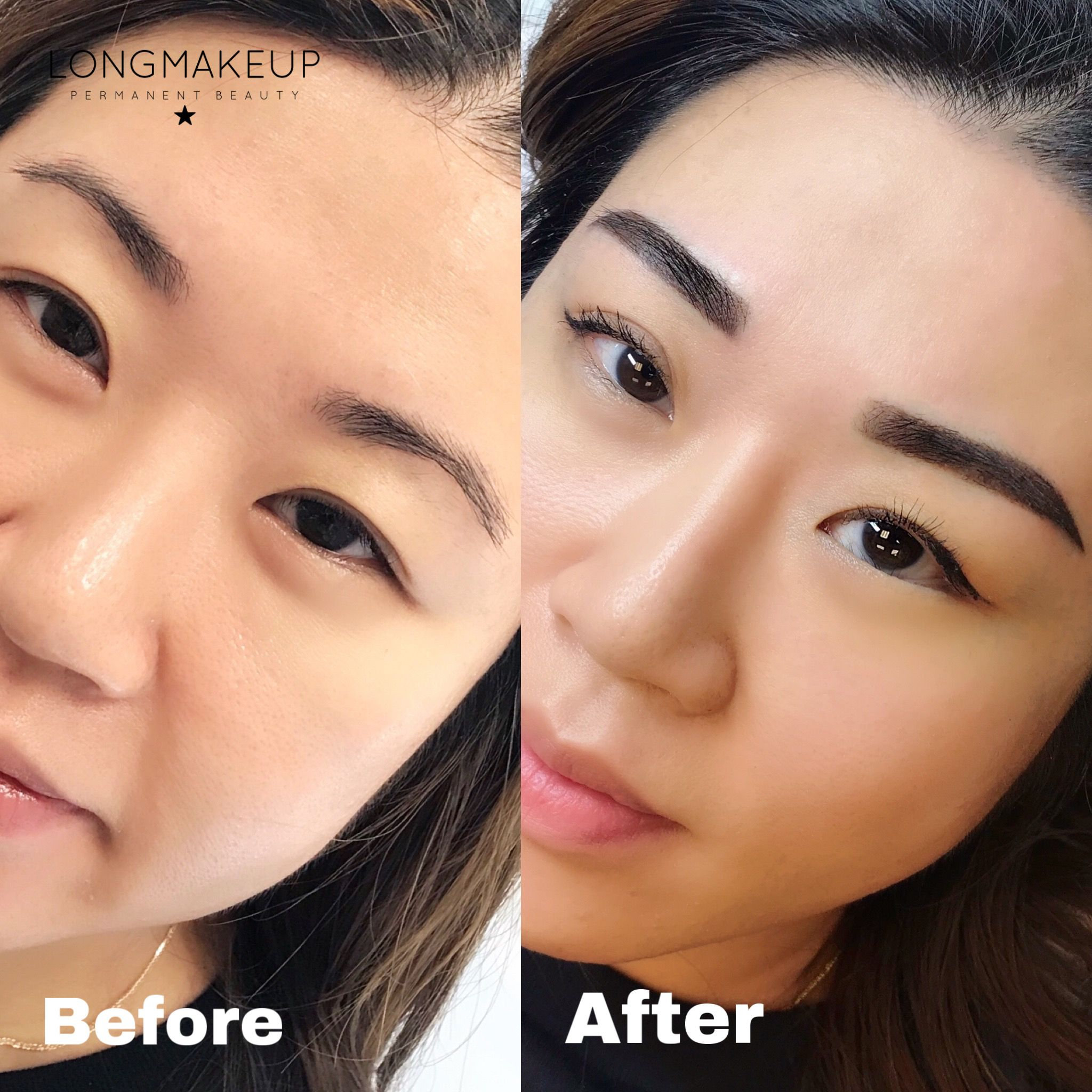 Powder brows before and after