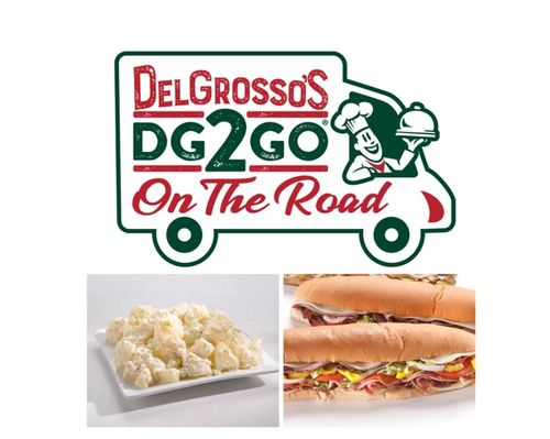 DG2GO On the Road Truck Logo with Potato Salad and Hoagies