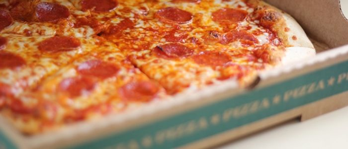 Pepperoni Pizza inside pizza box