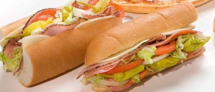 Hoagie sandwich with meat and cheese