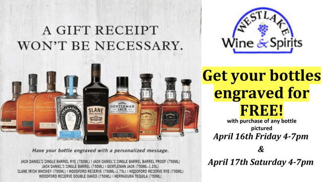 Get your bottles engraved for FREE!