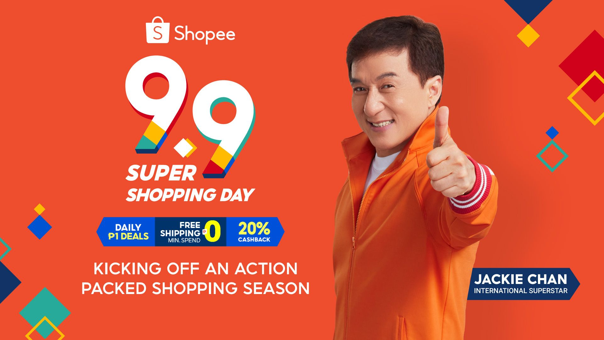 Jackie Chan high kicks Shopee 9.9 Super Shopping Day photo from UNBOX PH