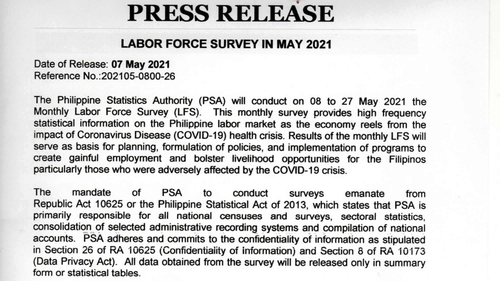 Labor survey for workers affected by pandemic launched in EV