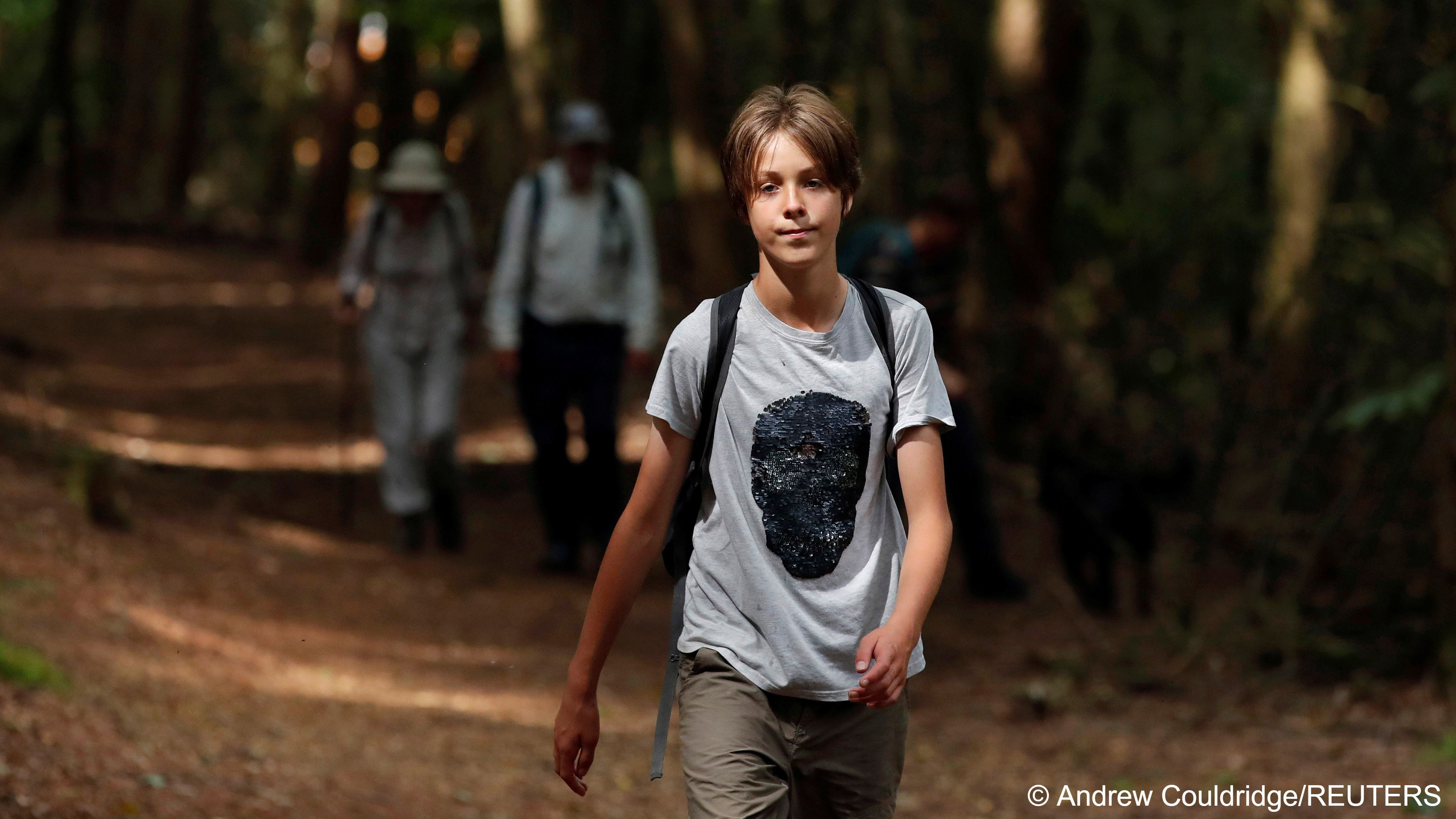 British boy, 11, walks to save the earth photo Andre Couldridge, REUTERS