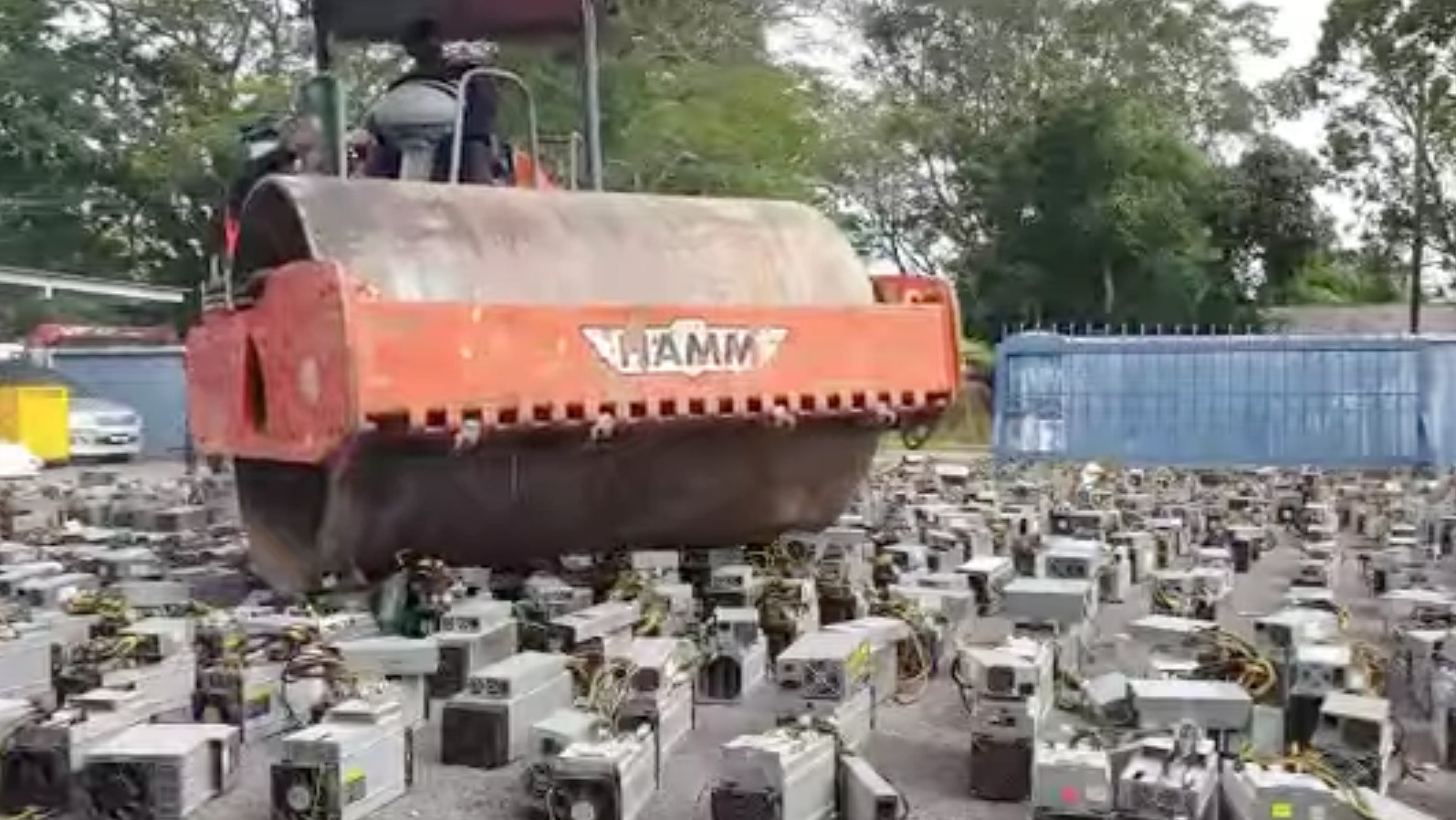 Malaysia publicly destroys computers used for crypto-mining photo from The Block