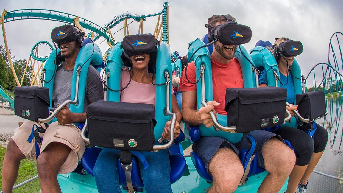 Virtual reality amusement parks offer alternative and exciting real world experience