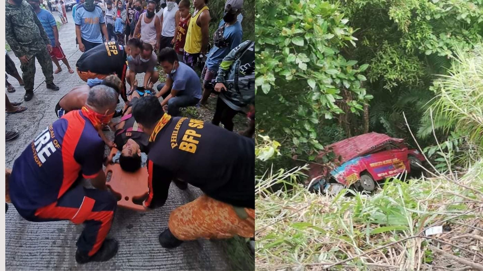 1 dead, 17 injured after multi-cab falls off cliff in S. Leyte