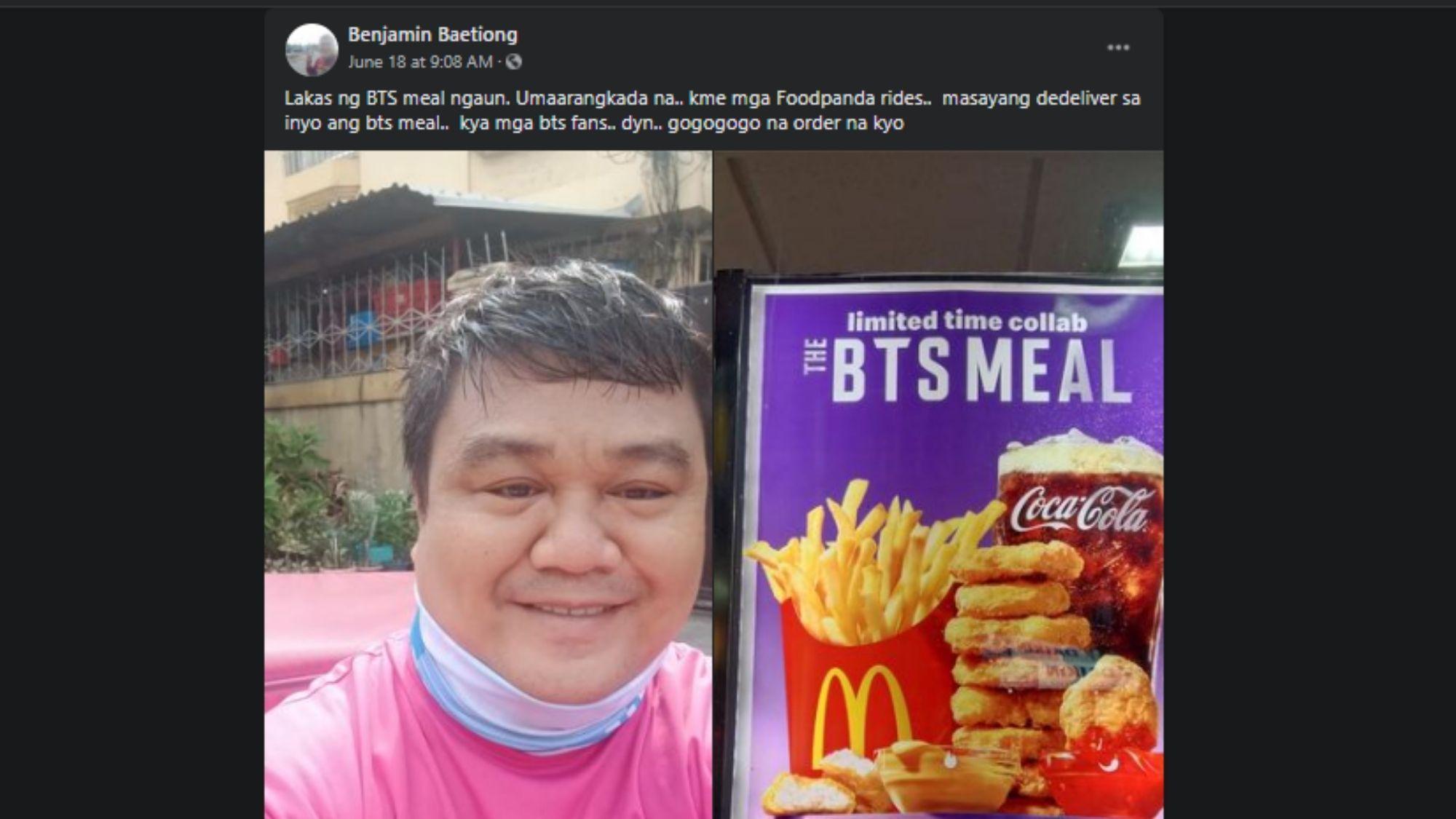 McDonald's PH and Benjamin Baetiong are sending purple hearts everywhere