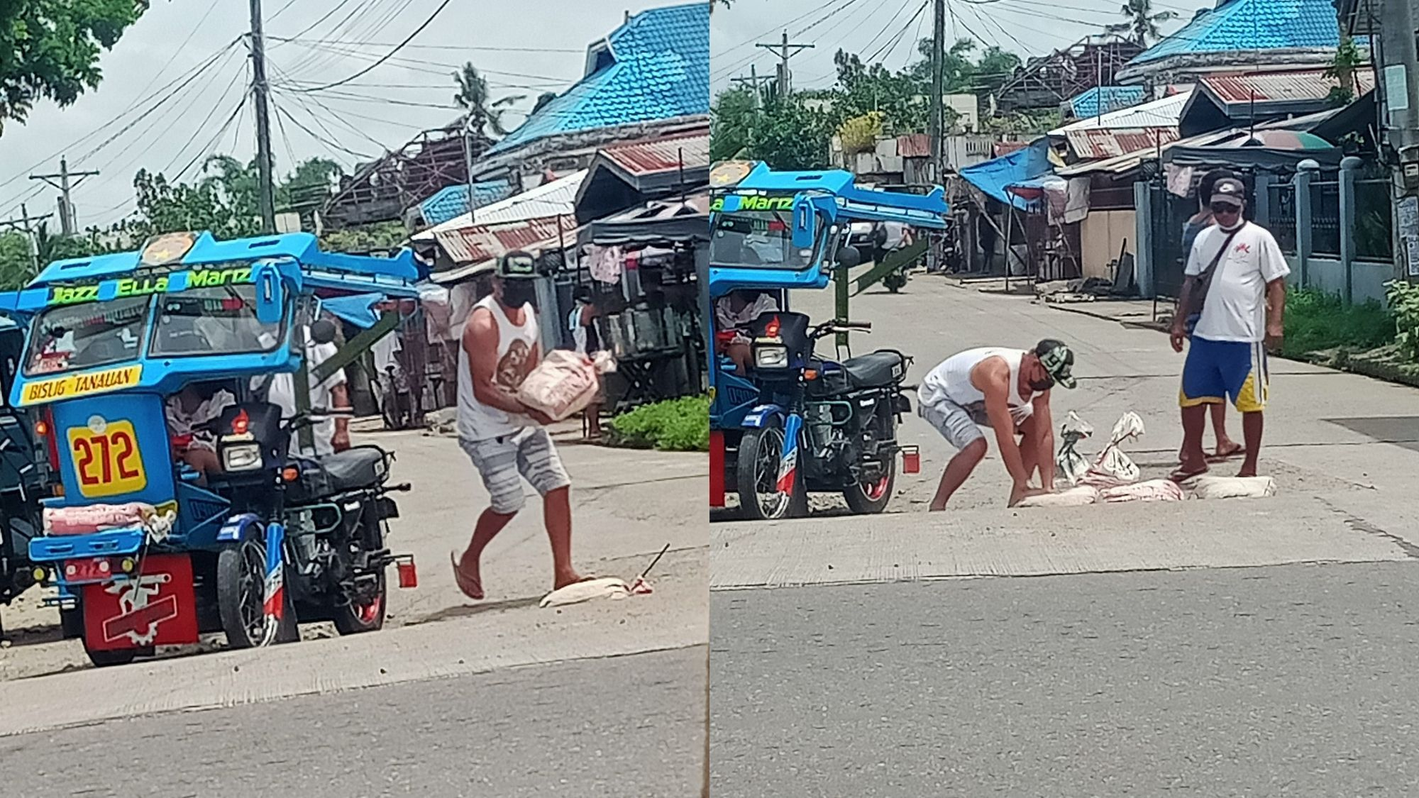 Tricycle driver praised for fixing dilapidated road photo by Nhar Berdan Palaña