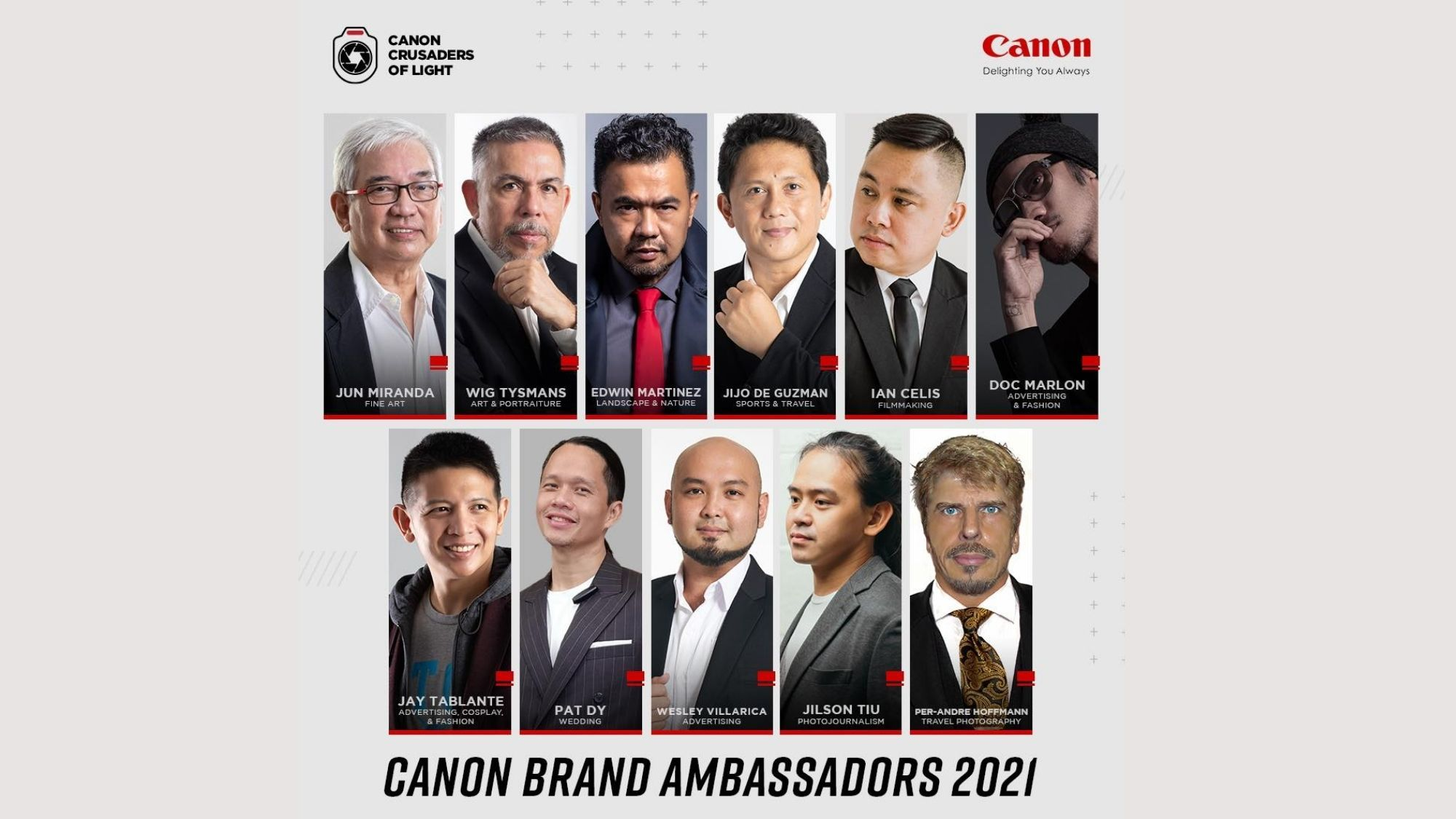 Lack of inclusivity Canon draws backlash over-all male brand ambassadors photo from Canon Philippines