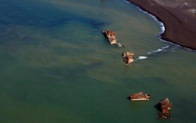 Volcanic activity raises sunken Japanese ships from the deep in Iwo Jima photo The Telegraph