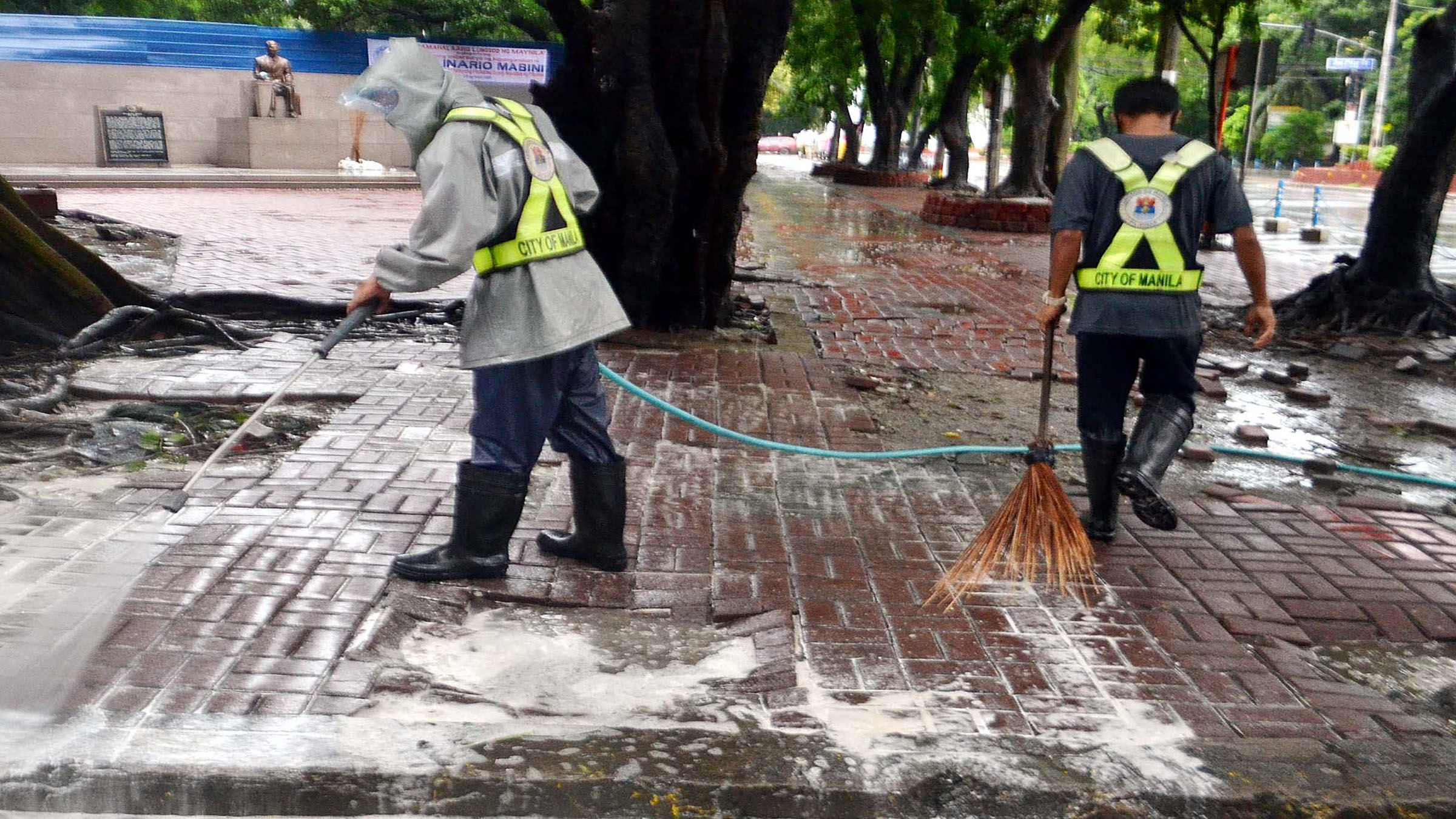 DISINFECTION CONTINUES, RAIN OR SHINE