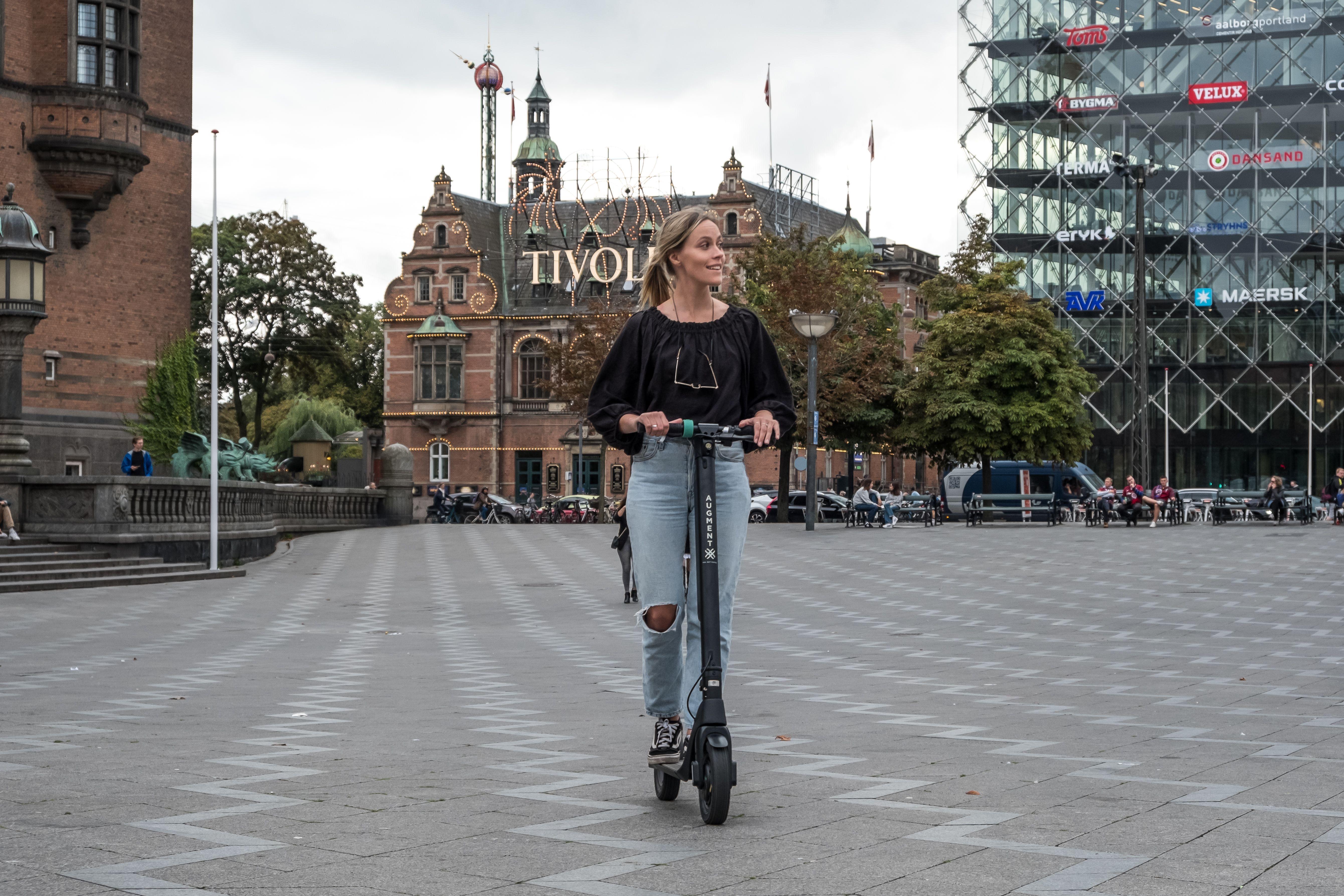 Augment.Eco e-scooter in front of Tivoli in Copenhangen (Kopenhamn)
