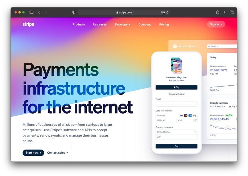 Stripe homepage