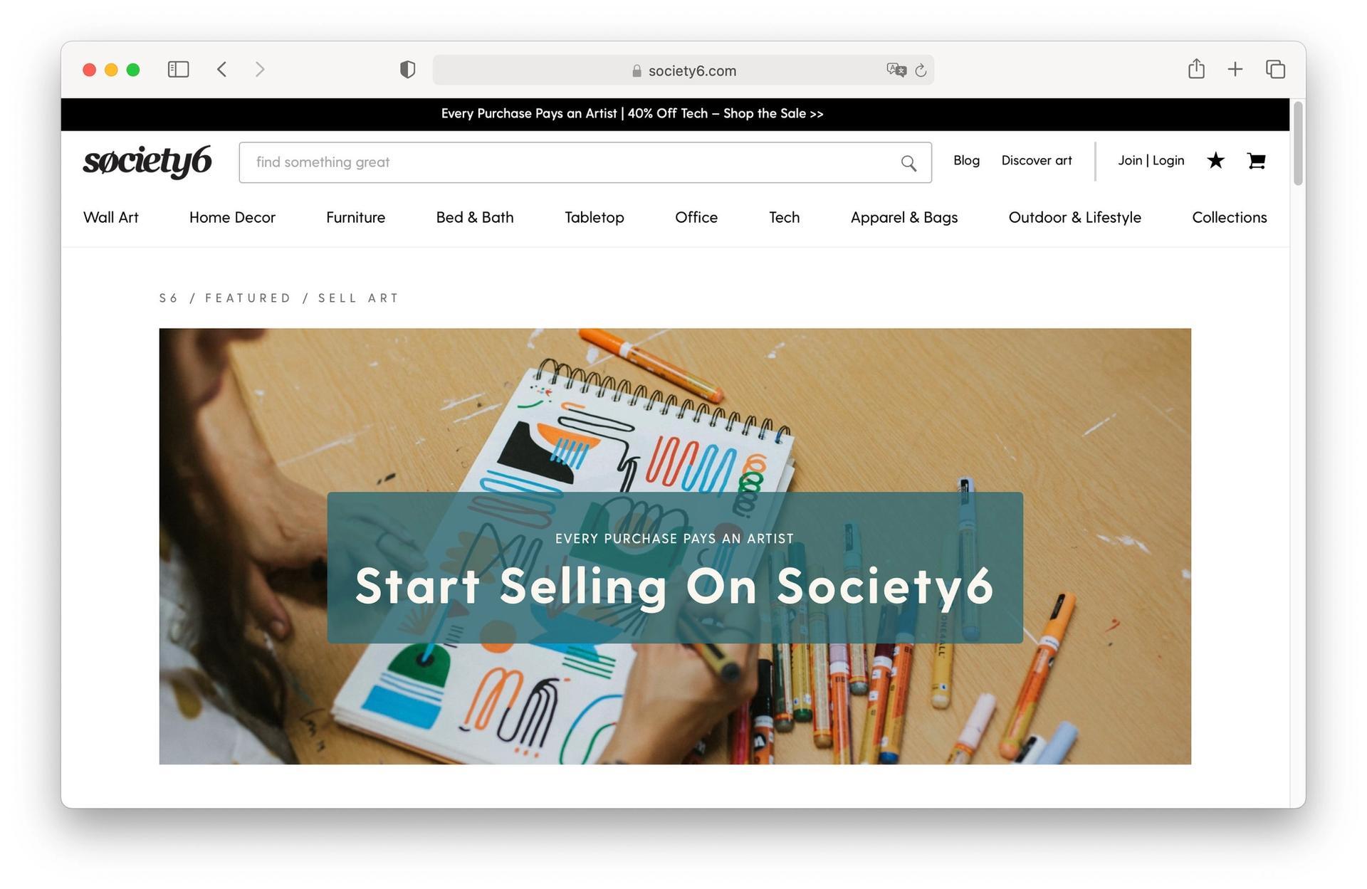 Society6 homepage