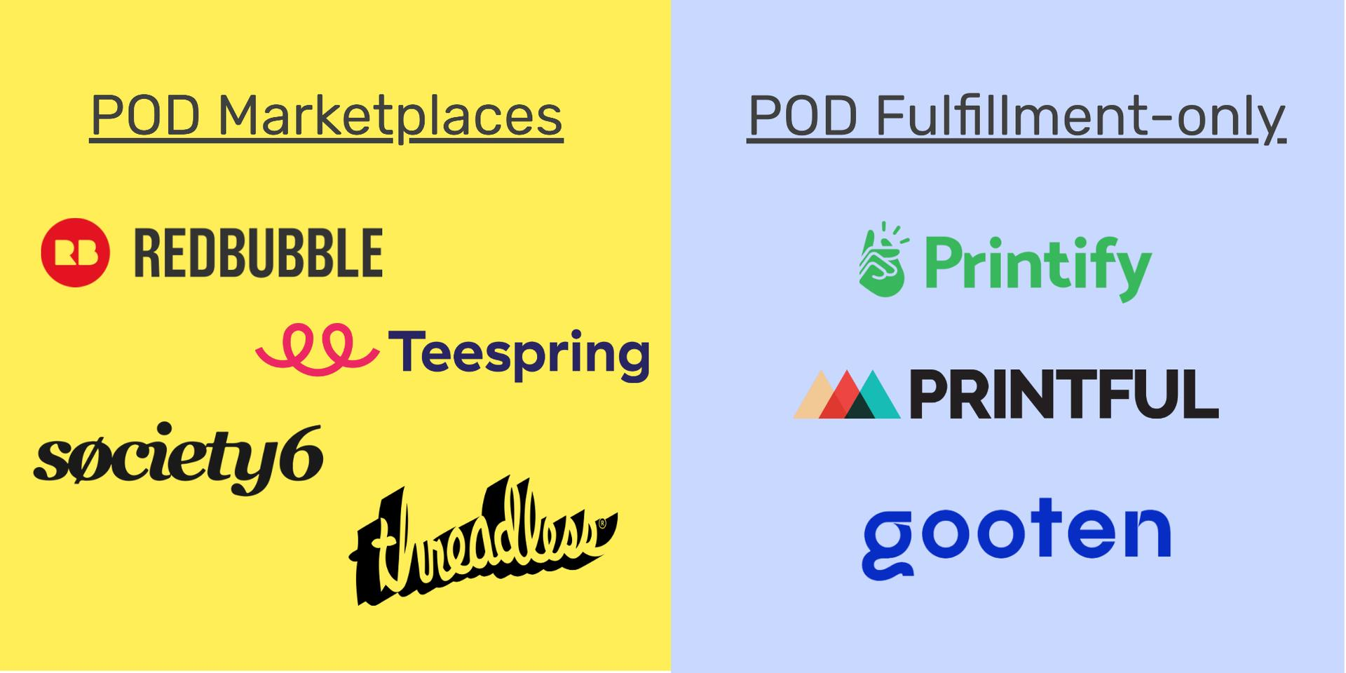 Print on demand marketplaces vs fulfillment-only services