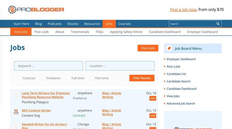 ProBlogger job listings