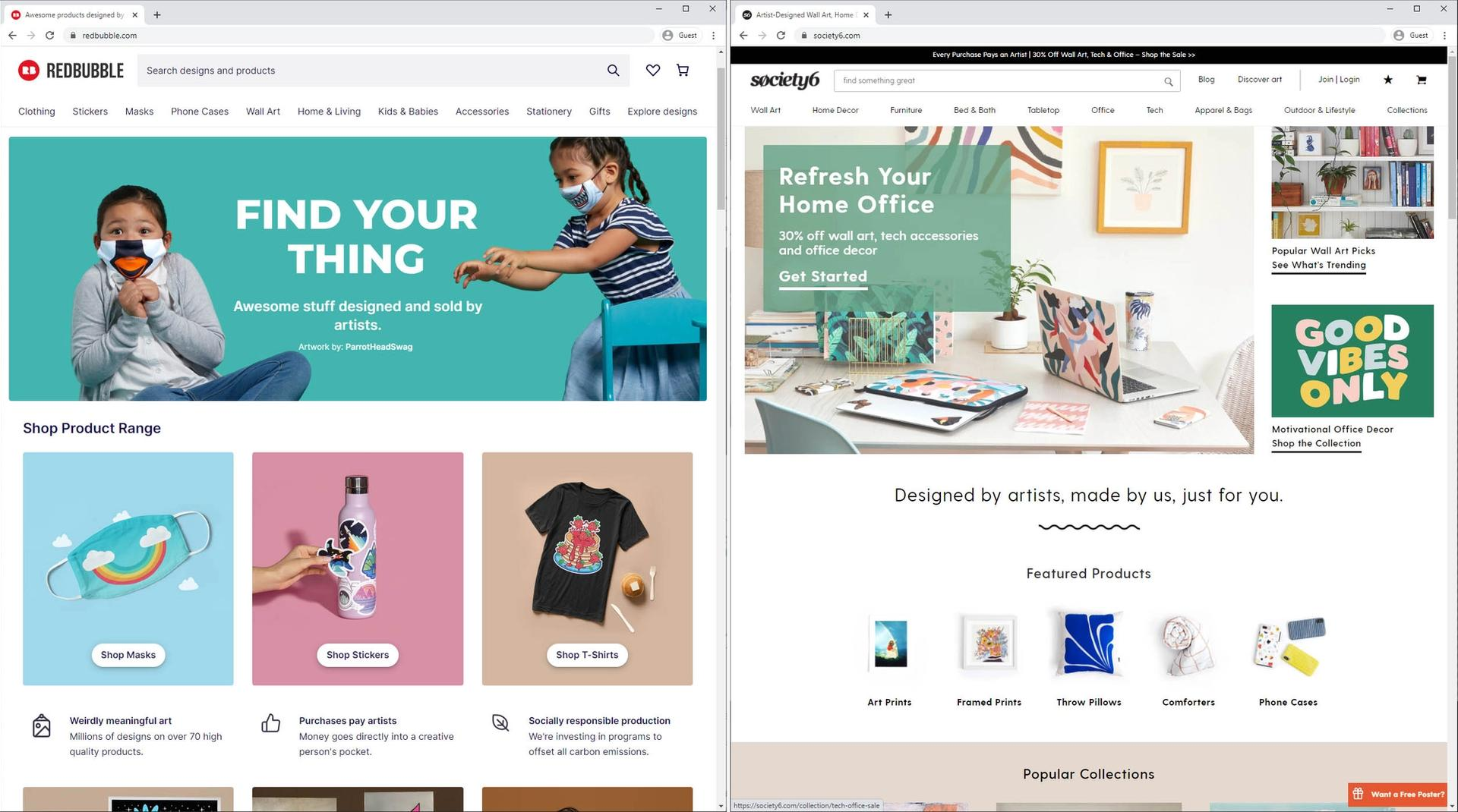 society6 and redbubble homepage side by side