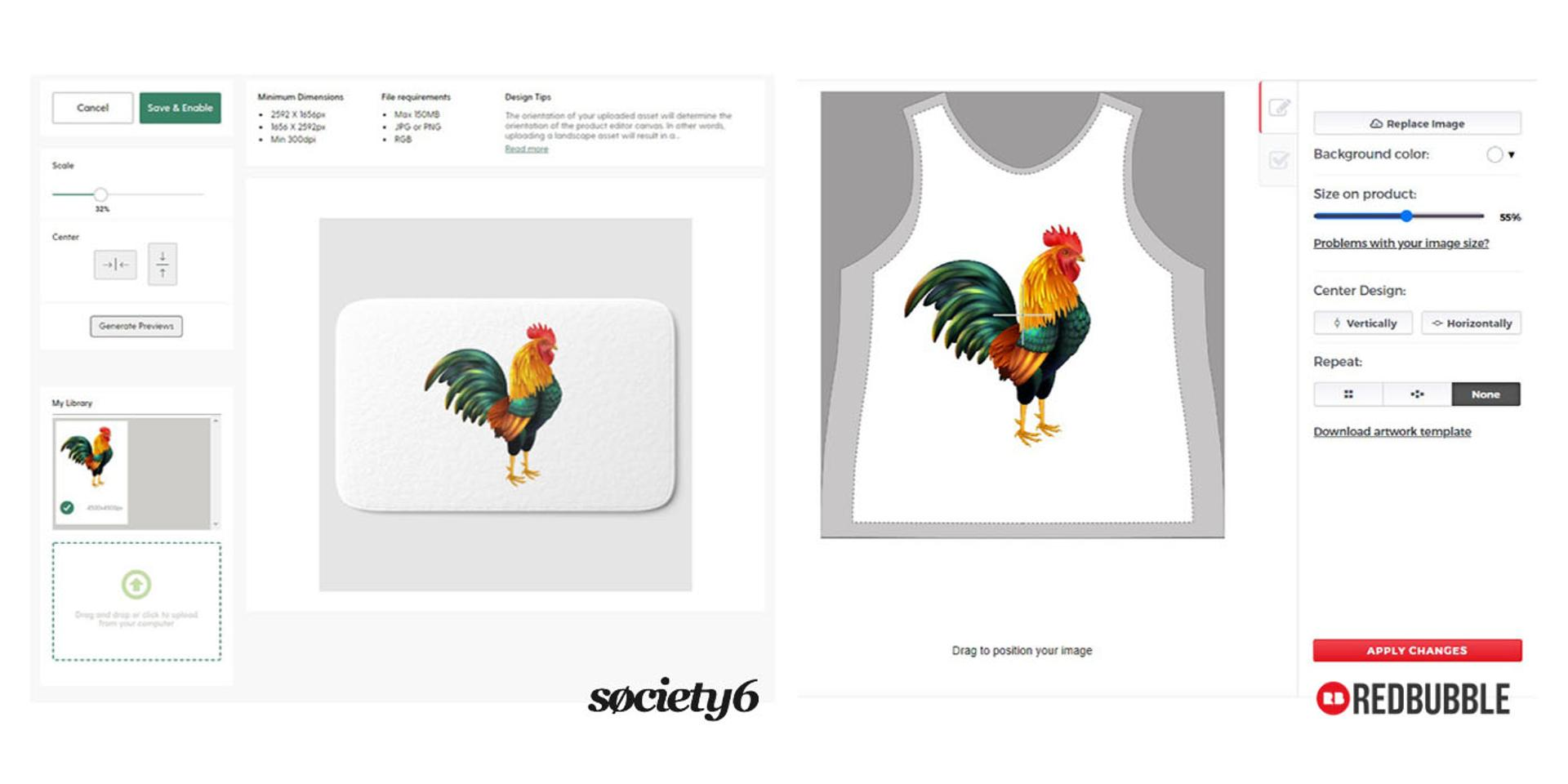 Society6 and Redbubble product editors