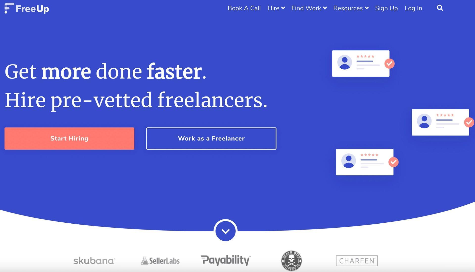 FreeUp homepage screenshot