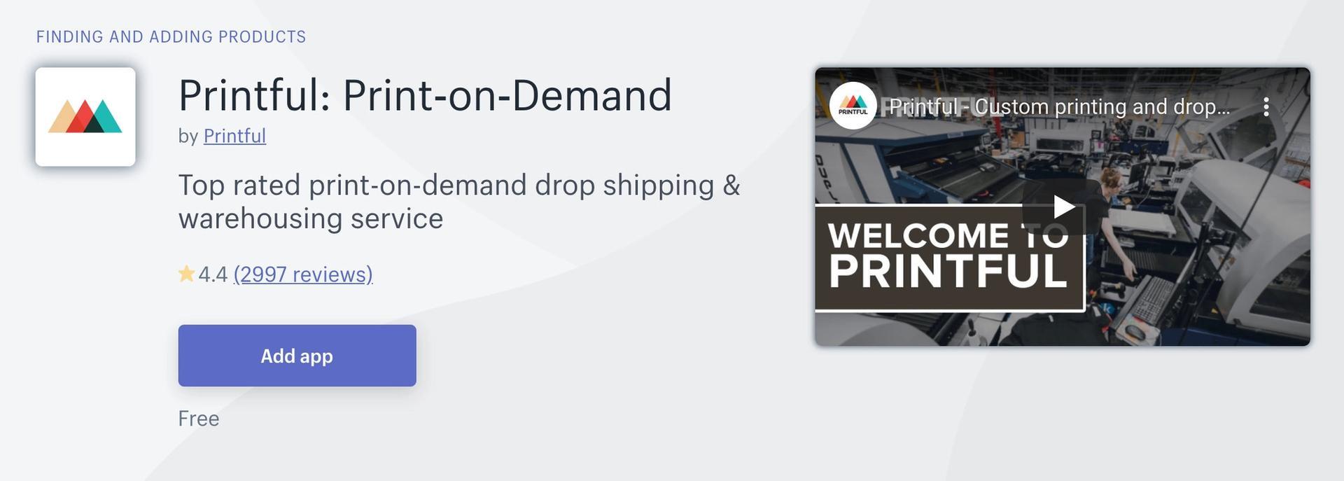 Printful Shopify app