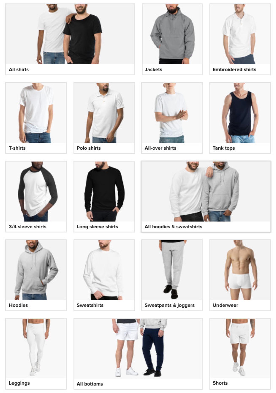 Printful apparel selection