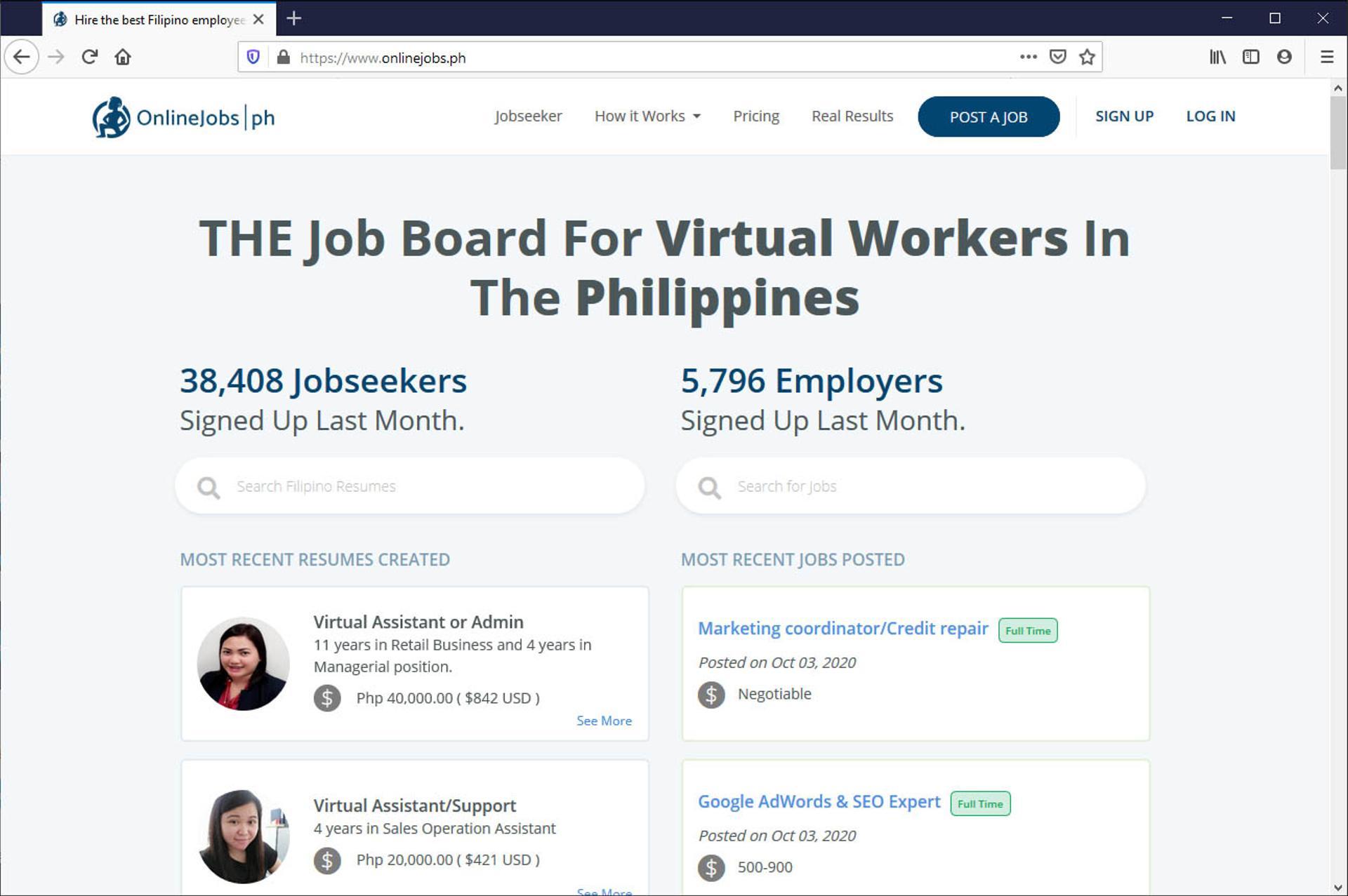 onlinejobs.ph screenshot