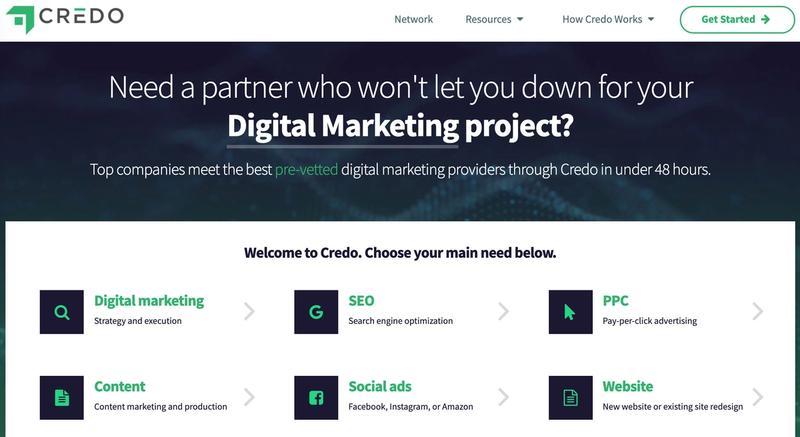Get Credo homepage screenshot
