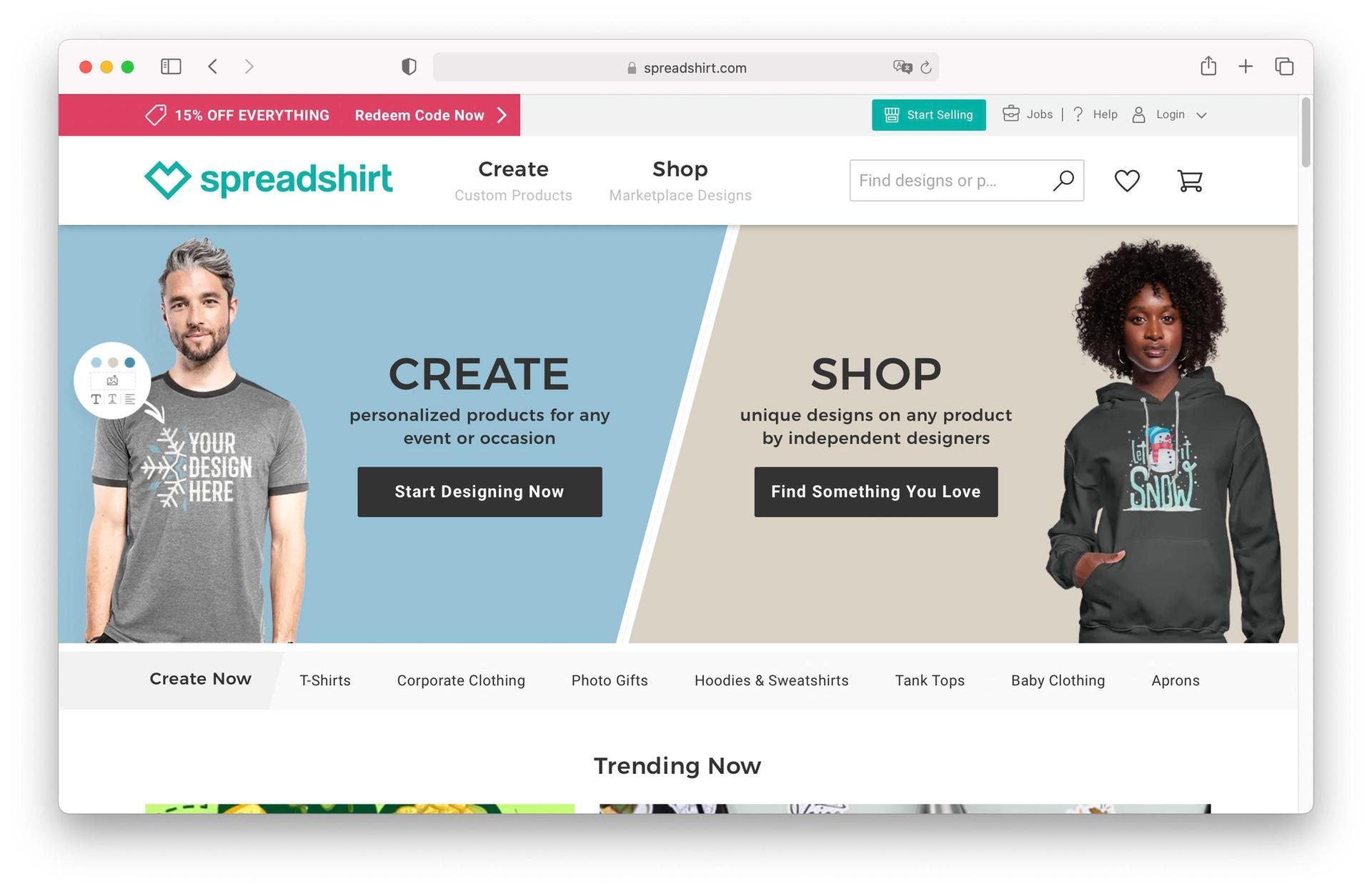 Spreadshirt homepage