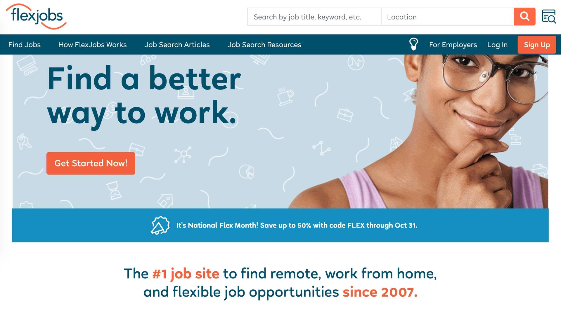 Flexjobs homepage screenshot