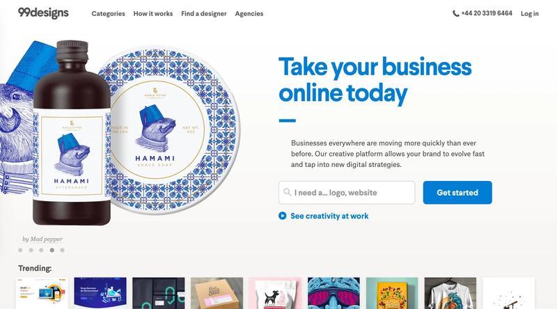 99Designs homepage screenshot