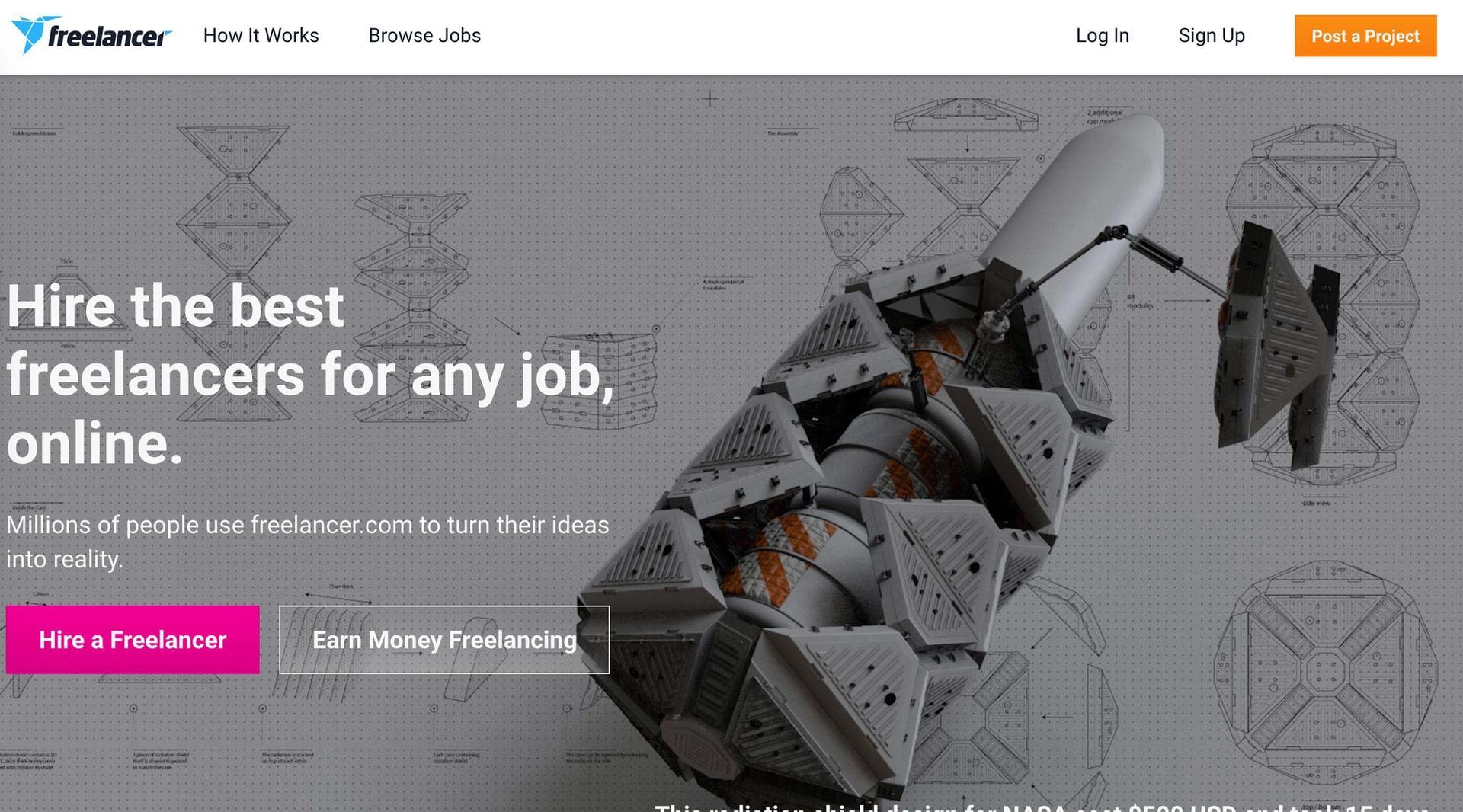 freelancer.com homepage screenshot