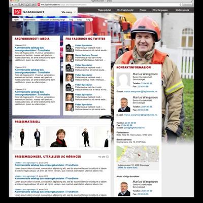 Press page in desktop browser