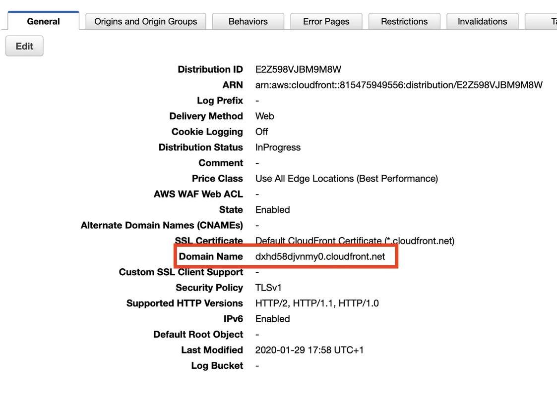 Cloudfront domain name setup