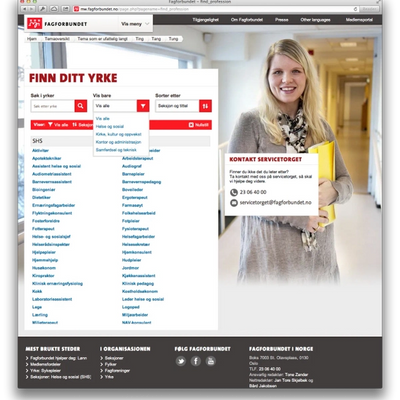 Position / work title search (Desktop)