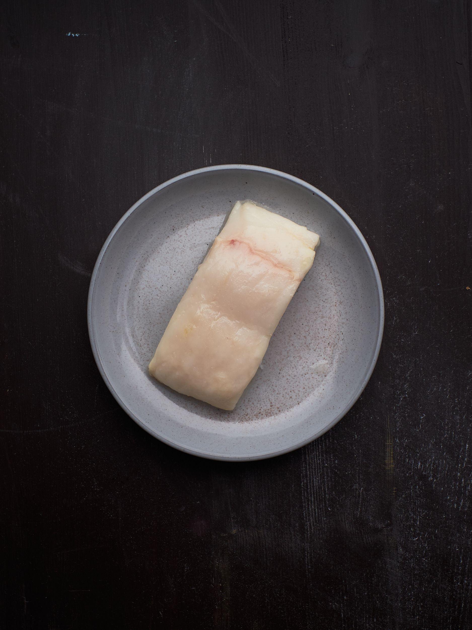 Kveite bakt på lav temperatur