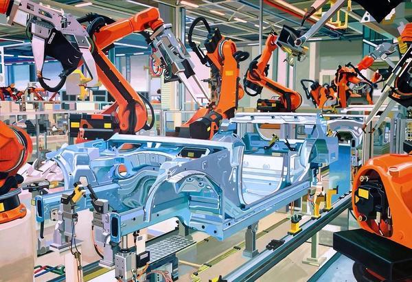 Eine Malerei einer automatisierten Fließbandproduktion.