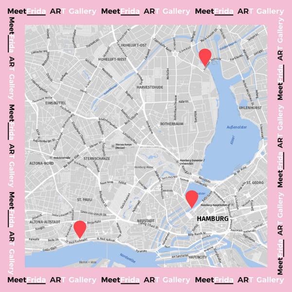 Eine Karte Hamburgs. Rote Markierungen zeigen die Positionen der Würfel.