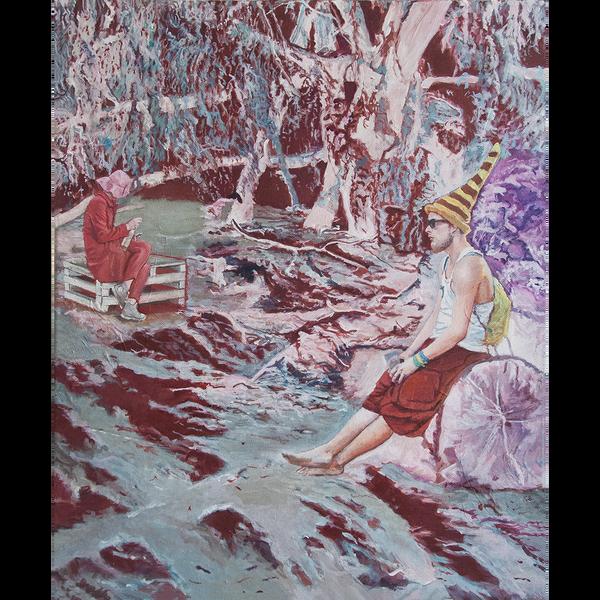 Eine stilisierte Festivalszene zeigt zwei unbekannte Figuren in stiller Zweisamkeit.