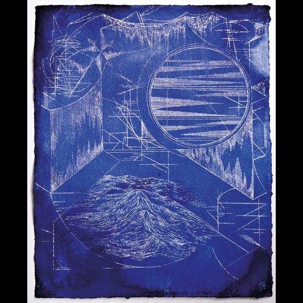 Eine abstrakte Zeichnung. Geometrische Formen auf blauem Hintergrund.