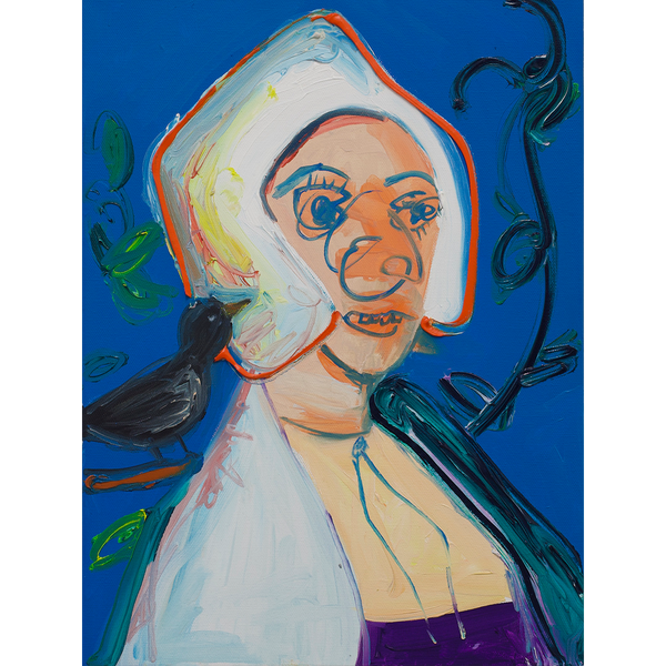 Eine verzerrte Potraitmalerei einer Frau mit einer Krähe auf der Schulter.